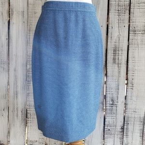 St John Collection 6 Santa Knit Blue Classic Skirt